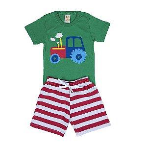 Conjunto Infantil Menino Trator Verde - Lucca Kids