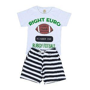 Conjunto Infantil Menino Rigth Euro Branco - Lucca Kids