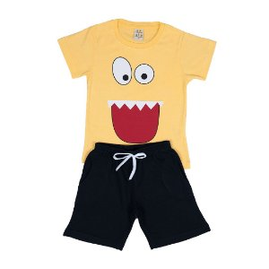 Conjunto Infantil Menino Monster Amarelo - Lucca Kids