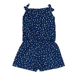 Macaquinho Infantil Menina Confete Azul Marinho - Sport Sul