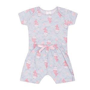 Pijama Bebê Menina Azul Estampado - Junkes Baby