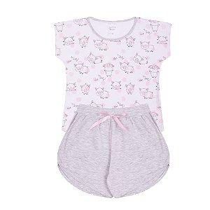 Pijama Infantil Menina Estampado Branco - Junkes Baby