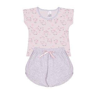 Pijama Infantil Menina Estampado Rosa - Junkes Baby