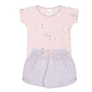 Pijama Infantil Menina Rosa Estampado - Junkes Baby