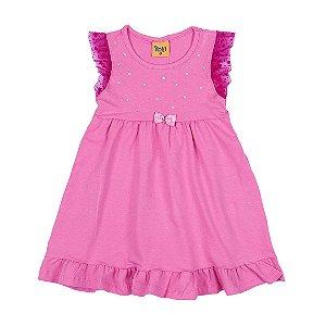 Vestido Infantil Menina Tule Rosa - Rolú