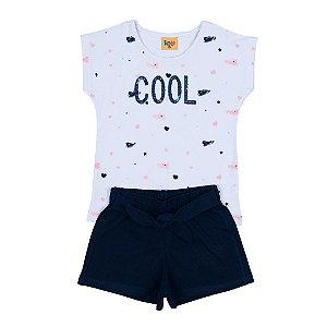 Conjunto Infantil Menina Cool Branco - Rolú