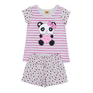 Pijama Infantil Menina Panda Mescla - Rolú