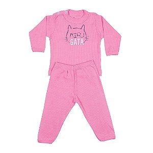 Conjunto Menina Bebê Gata Rosa - Junkes Baby