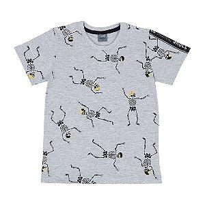 Camiseta Infantil Menino Dance Skull Mescla - Rolú