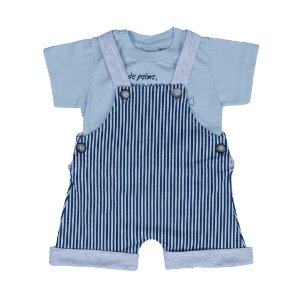 Conjunto Bebê Menino Jardineira Listrada Azul - Junkes Baby