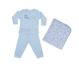 Kit Bebê Menino Conjunto + Manta Azul - Junkes Baby