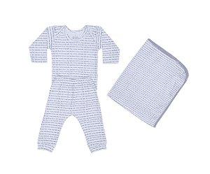 Kit Bebê Menino Conjunto + Manta Estampado Branco - Junkes Baby