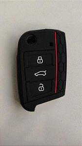 Capa de silicone protetora de chave VW Chave canivete + Brindes TBR | Novo Golf MK7 GTI TSI Novo Polo Virtus Tiguan Fox Jetta T Cross Nivus