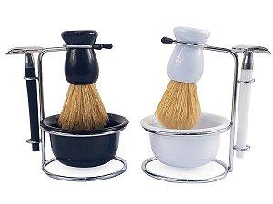 Kit Para Barbear Masculino Retro Vintage Lamina Metal Navalha Suporte Metal Saboneteira Pincel