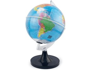 Globo Terrestre Giratório Mapa Mundi em Português Escolar 20cm Base Preta Removível
