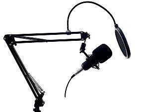 Microfone Condensador Profissional Para Mesa Braço Articulado Pop Filter P2 XLR