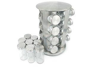 Porta Condimentos Redondo Em Aço Inox Com 16 Potes De Vidro e Base Giratória