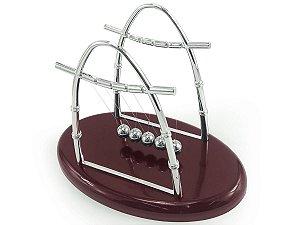 Pendulo Newton Oval Enfeite Decorativo Bolas De Metal Base De Plástico Linha Nylon