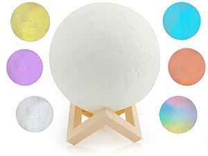 Luminária Abajur 3D Lua Cheia Decoração De Mesa RGB Colorido
