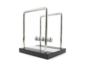 Pendulo De Newton Pequeno Com Base Espelhada Enfeite Para Decoração De Mesa Escritório Sala Quarto