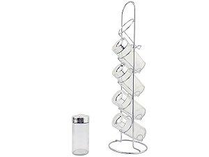 Porta Condimento 5x Potes Tempero Suporte Vertical Vidro