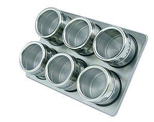 Porta Temperos e Condimentos Magnético com 06 unidades Inox Cozinha