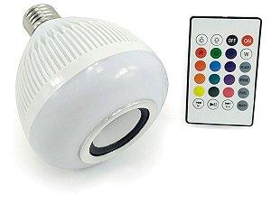 Lâmpada Led RGB Musical Bluetooth 3w com Alto Falante e Controle Remoto