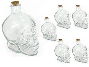 Kit 6 Garrafa de Vidro Formato Cranio Caveira Com Tampa Rolha Resistente 450ml