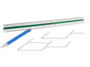Régua Triangular Escalímetro De Plástico Tamanho 30 cm Escalas Coloridas Para Engenheiro Profissional
