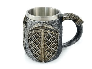 Caneca Escudo Medieval 450ml Com Alça Copo Decorativo Em Metal e Resina