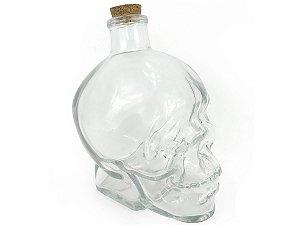 Garrafa de Vidro Formato Cranio Caveira Com Tampa Rolha Resistente 450ml