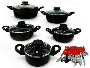 Conjunto De Caçarola 5 Peças Para Sua Cozinha Antiaderente Com Tampa de Vidro  e Talheres