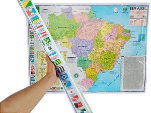 Mapa do Brasil Político Rodoviário e Estatístico Edição Atualizada Marcação Divisão Entre Estados 120x90 cm