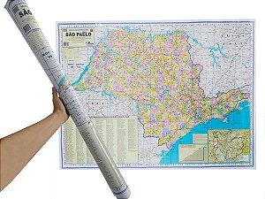 Mapa do Estado De São Paulo Edição Atualizada Político Rodoviário Turístico Marcação Divisão De Cidades 120X90 cm