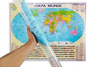 Mapa Mundi Planisfério Político Escolar Divisão De Países e Capitais 120x90 cm Edição Atualizada
