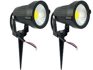 Kit 2 Luminária Spot Luz Led De Alto Brilho 7w Com Espeto Para Jardim 110v 220v