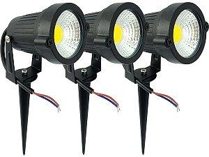 Kit 3 Luminárias Spot Luz Led De Alto Brilho 7w 110v/220v Com Espeto Para Jardim