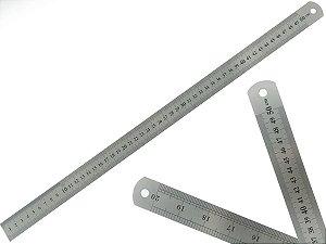 Régua Escolar De Metal Aço Inox Tamanho 50 cm Engenheiro Escritório Resistente Marcação Baixo Relevo