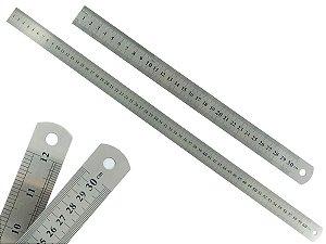 Kit Com 2 Réguas Metal Leve De Aço Inoxidável Tamanho 30 e 60 cm Marcação Baixo Relevo Escolar Escritório Engenheiro