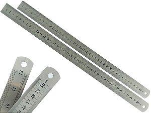 Kit Com 2 Régua Metal Inoxidável Marcação De Baixo Relevo Uso Escolar Escritório Engenheiro Profissional 40 cm