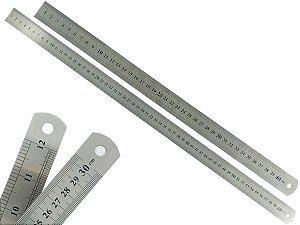 Kit Com 2 Régua Metal Inoxidável Marcação De Baixo Relevo Uso Escolar Escritório Engenheiro Profissional 40 e 60 cm