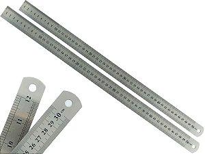 Kit 2 Réguas Escolar De Metal Aço Inox Tamanho 50 cm Engenheiro Escritório Resistente Marcação Baixo Relevo