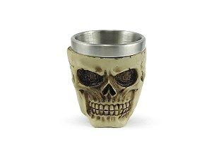 Copo De Shot Dose Em Aço Inox Resina Modelo Caveira Crânio Decorativo Colecionável Tequila Whisky Vodka