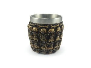 Copo Dose Shot Em Aço Inox Resina Modelo Mil Caveiras Colecionável Decorativo Whisky Vodka Tequila