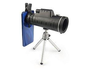 Luneta Telescópio Monóculo Tático Profissional 40x60 Com Tripé e Adaptador Para Celular Alcance 9500m