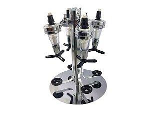 Porta Bebidas Dispenser Bar Butler Whisky Pinga Vodka Dosador Giratório Aço Inoxidável Para 4 Garrafas