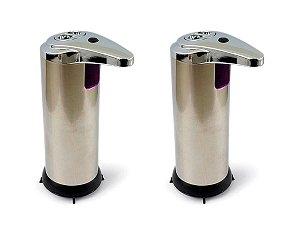 Kit 2 Saboneteira Inox Dispenser De Sabão Liquido Ou Álcool Gel Com Sensor Infravermelho Automática