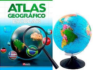 Kit Globo Terrestre Profissional Studio 30cm + Lupa +  Livro Atlas Escolar Com Divisão De Países Base Em Plástico