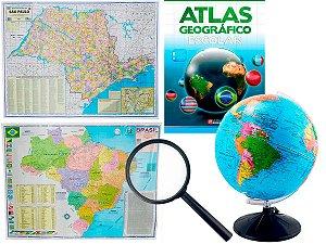 Kit Globo Terrestre Profissional Studio 30cm + Lupa +  Mapa do Brasil + Mapa do Estado de São Paulo + Livro Atlas Escola