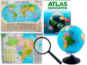 Kit Globo Terrestre Profissional Studio 30cm + Lupa +  Mapa do Brasil + Mapa Mundi + Livro Atlas Escolar